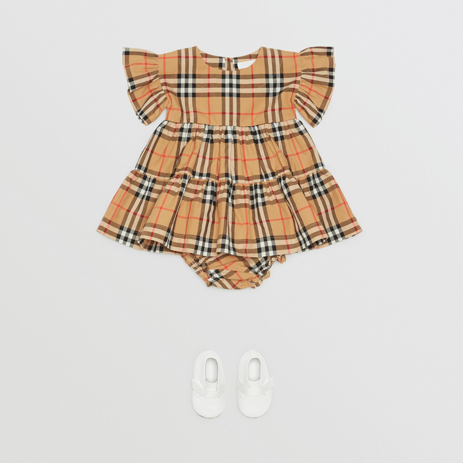 Ruffle Detail Vintage Check Dress with Bloomers in Antique Yellow - Children | Burberry United Kingdom - gallery image 2