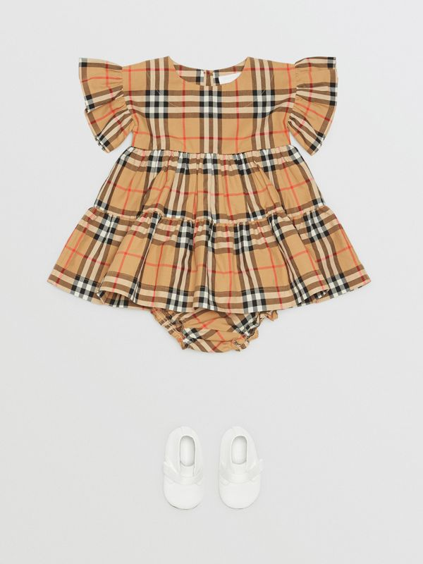 Ruffle Detail Vintage Check Dress with Bloomers in Antique Yellow - Children | Burberry Canada - cell image 2