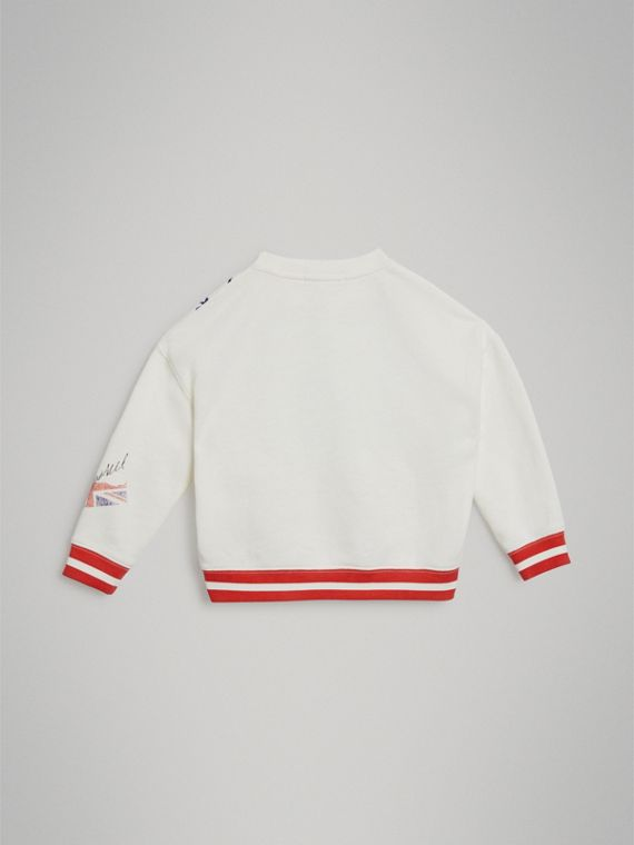 London Polaroid Print Cotton Sweatshirt in Ivory - Girl | Burberry - cell image 3