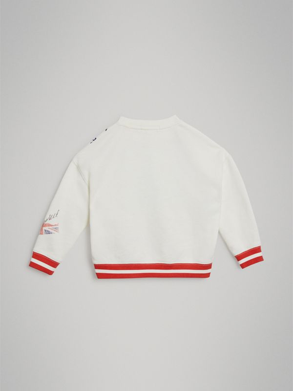 London Polaroid Print Cotton Sweatshirt in Ivory | Burberry Australia - cell image 3