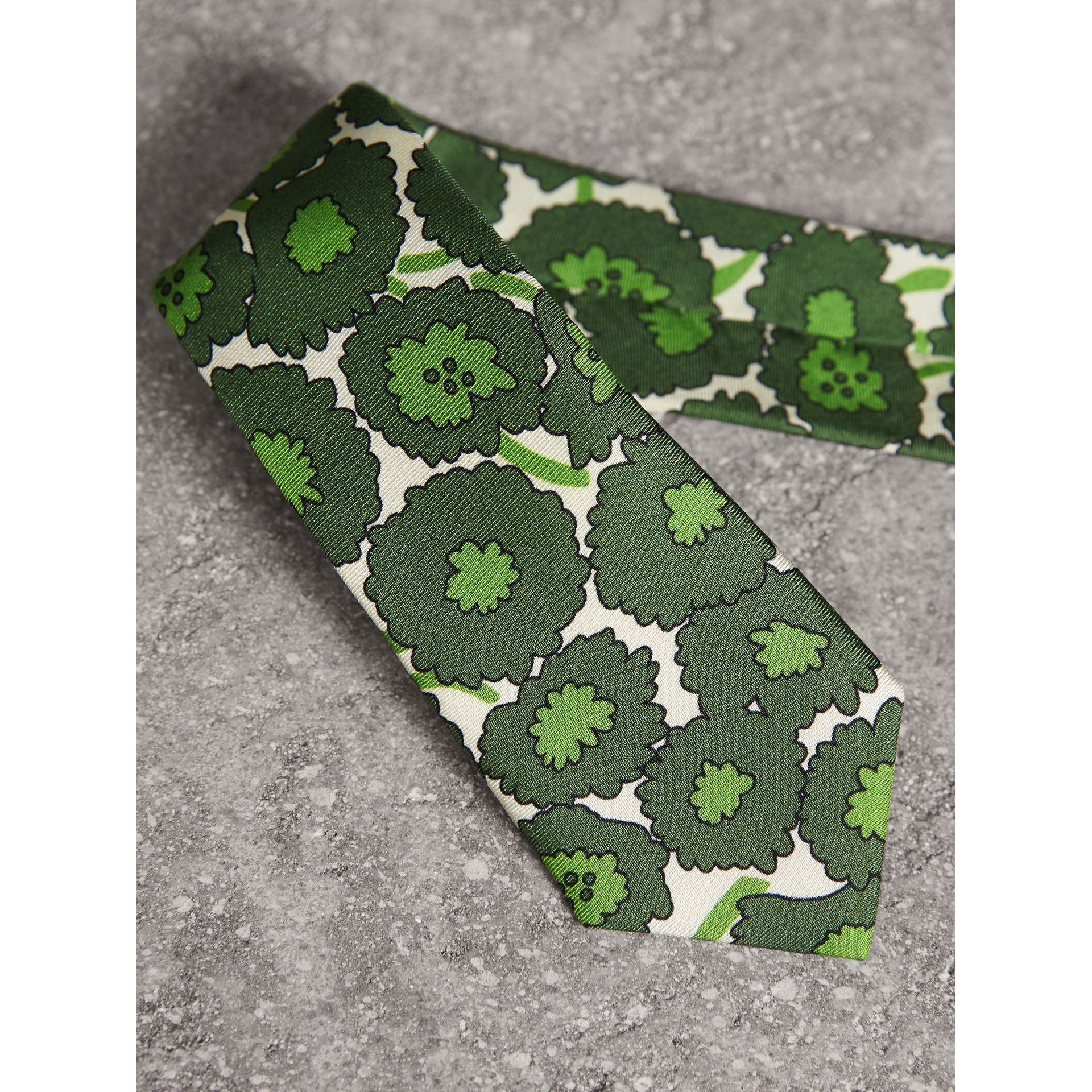 Slim Cut Abstract Floral Print Silk Tie in Tourmaline Green - Men | Burberry United States - gallery image 1