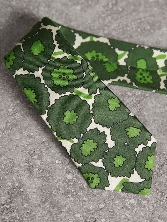 Slim Cut Abstract Floral Print Silk Tie in Tourmaline Green - Men | Burberry United Kingdom - cell image 1