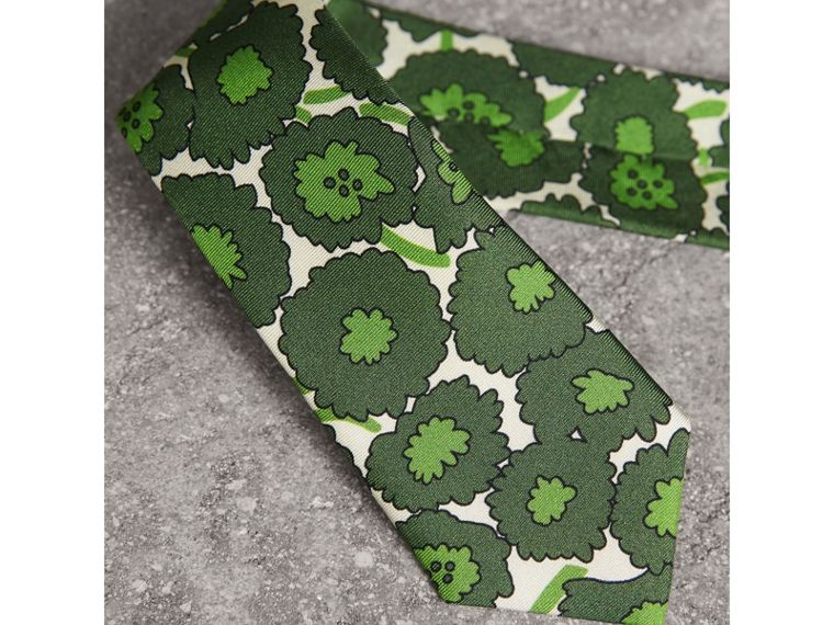 Slim Cut Abstract Floral Print Silk Tie in Tourmaline Green - Men | Burberry United States - cell image 1