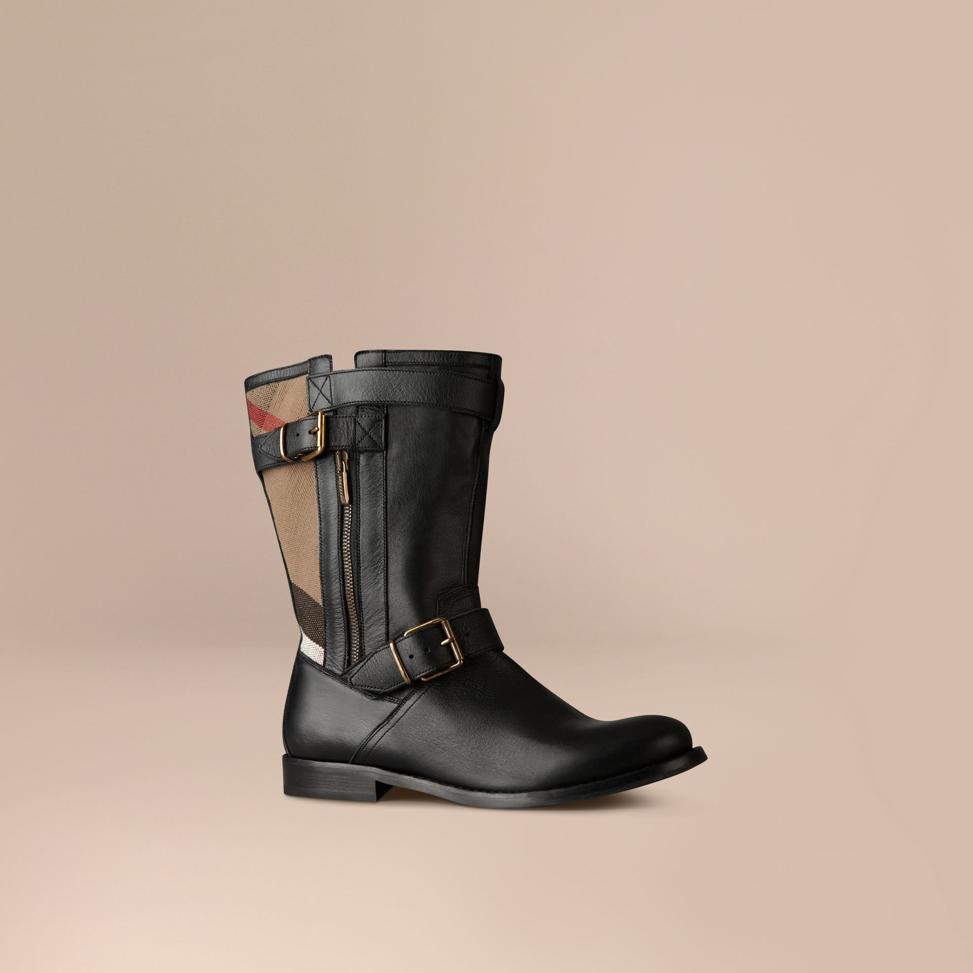 Black Check Detail Belted Leather Boots - gallery image 1