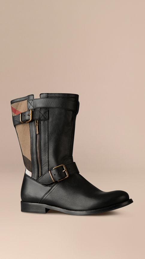 Black Check Detail Belted Leather Boots - Image 1