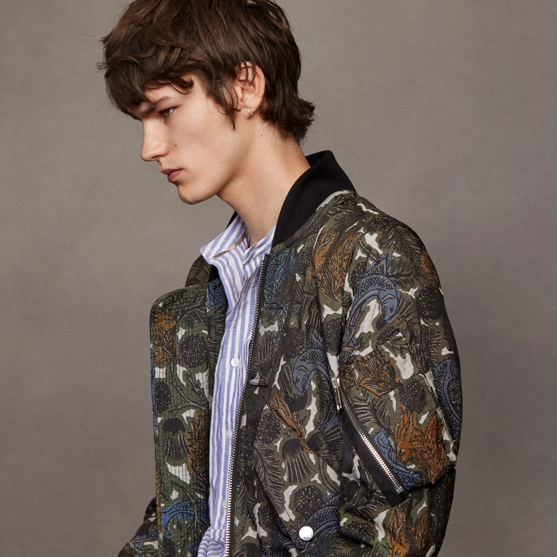 Beasts Print Lightweight Bomber Jacket in Sage Green - Men | Burberry - gallery image 7