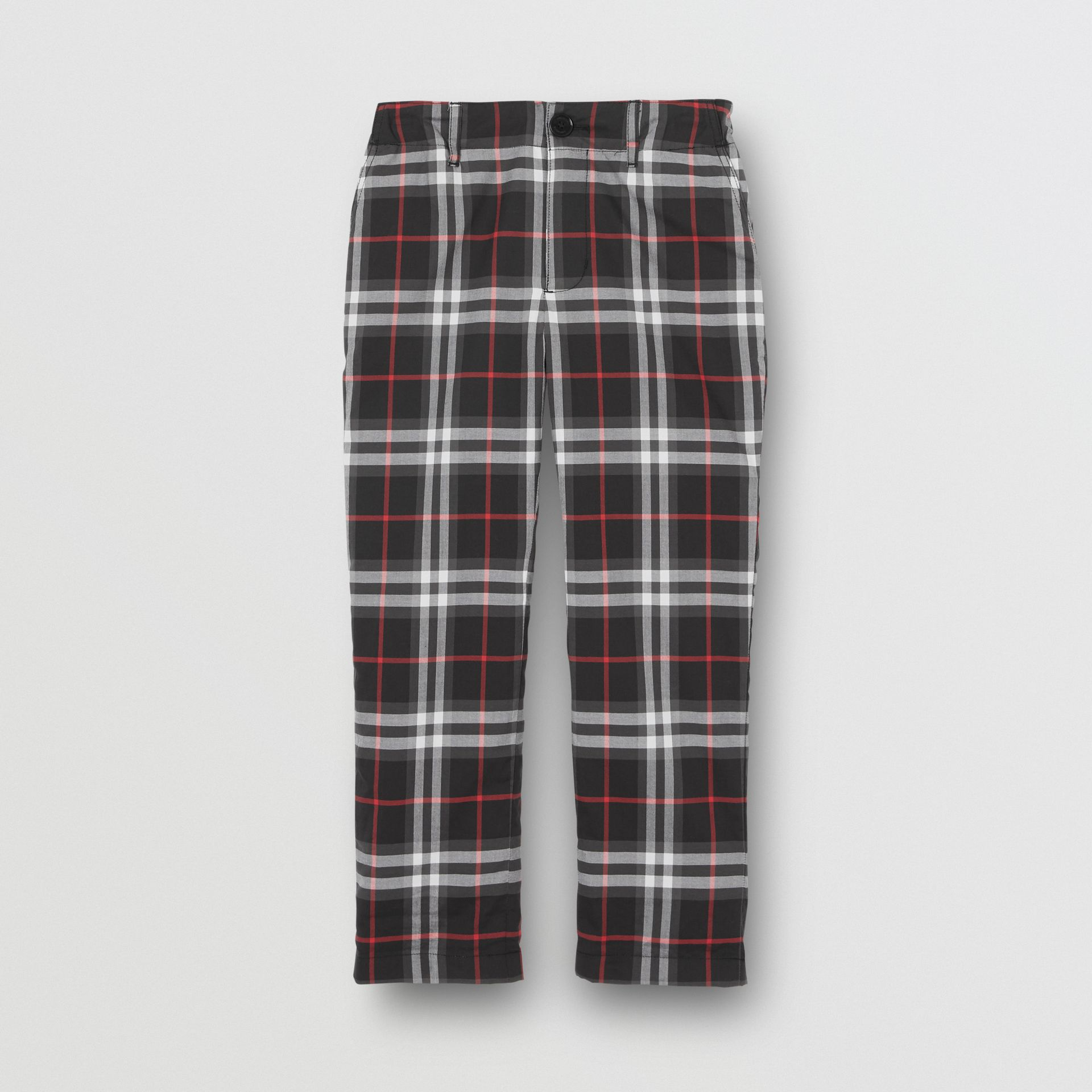 Vintage Check Cotton Tailored Trousers in Black - Boy | Burberry - gallery image 0