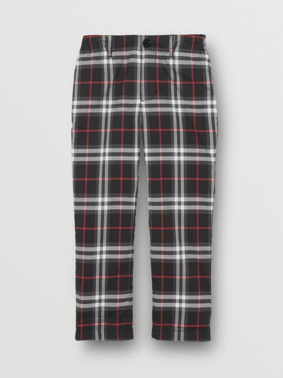 Vintage Check Cotton Tailored Trousers in Black