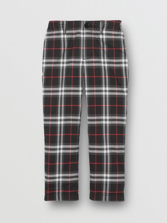 Vintage 格紋棉質套量裁製長褲 (黑色)