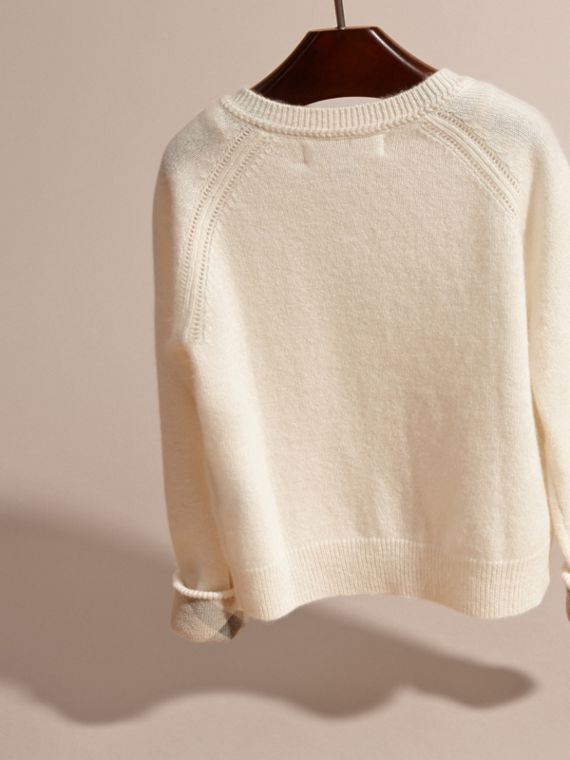 Check Cuff Cashmere Cardigan in Natural White - Girl | Burberry - cell image 3