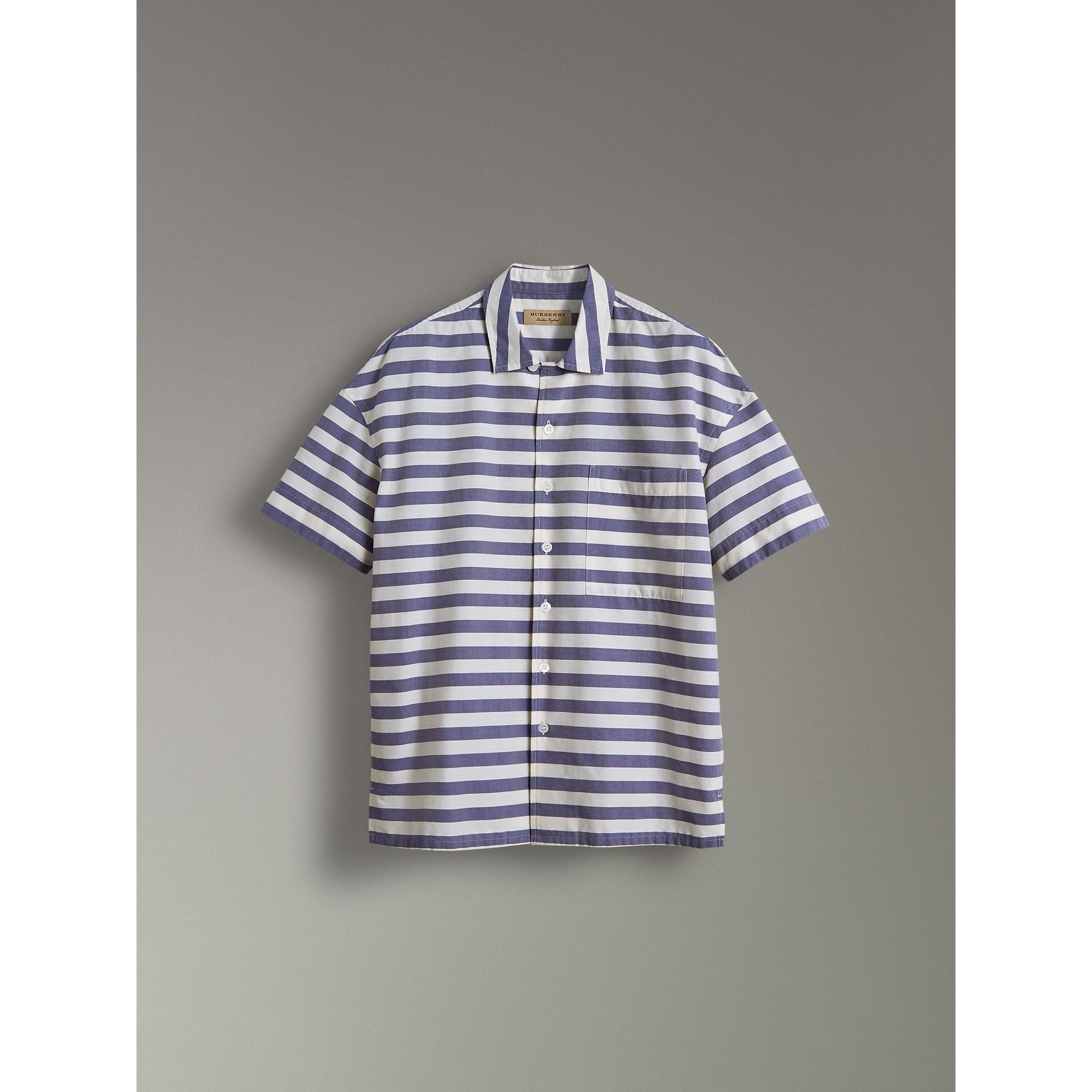 Short-sleeve Striped Cotton Shirt in Steel Blue - Men | Burberry United Kingdom - gallery image 3