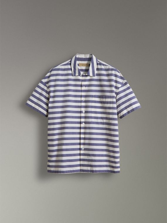 Short-sleeve Striped Cotton Shirt in Steel Blue - Men | Burberry - cell image 3