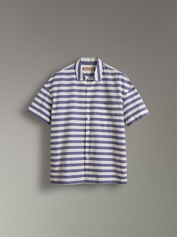 Short-sleeve Striped Cotton Shirt in Steel Blue - Men | Burberry United Kingdom - cell image 3