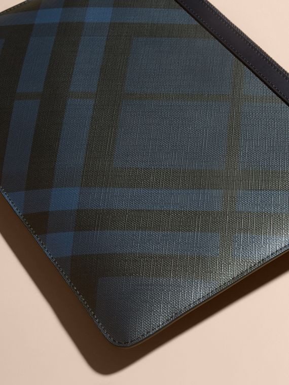 Zipped London Check Pouch in Navy/black - Men | Burberry - cell image 3