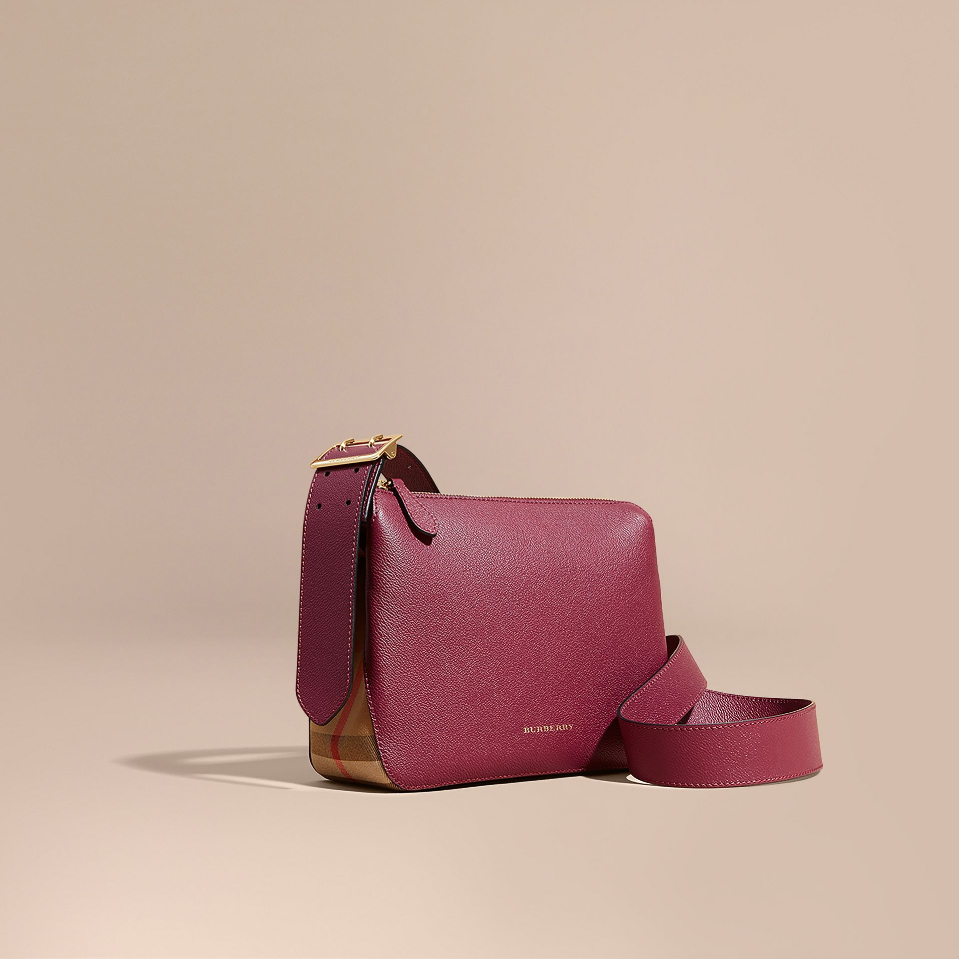 Buckle Detail Leather and House Check Crossbody Bag in Dark Plum - Women | Burberry - gallery image 1
