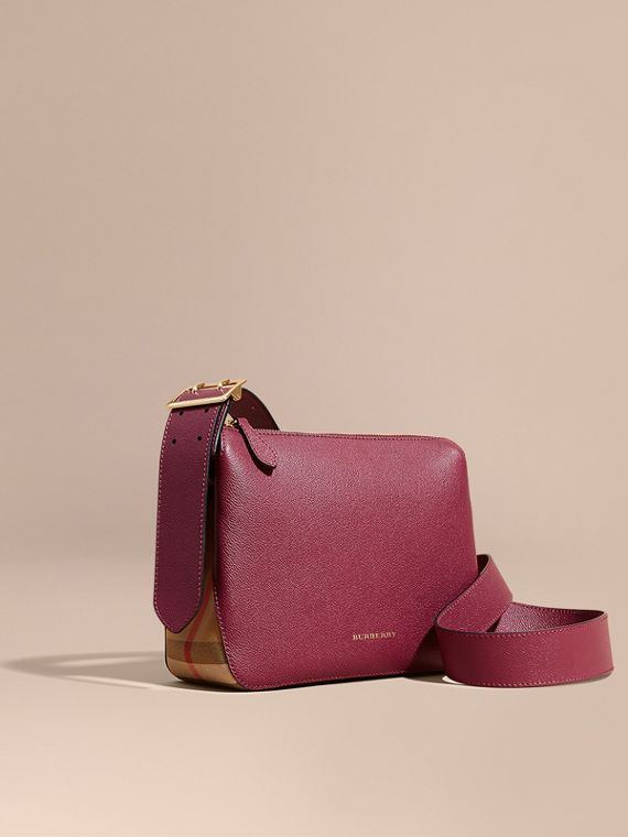 Buckle Detail Leather and House Check Crossbody Bag in Dark Plum