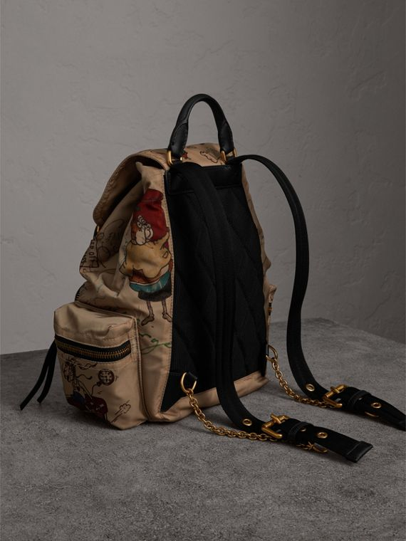 The Medium Rucksack in Sketch Print Nylon in Honey - Women | Burberry Canada - cell image 3