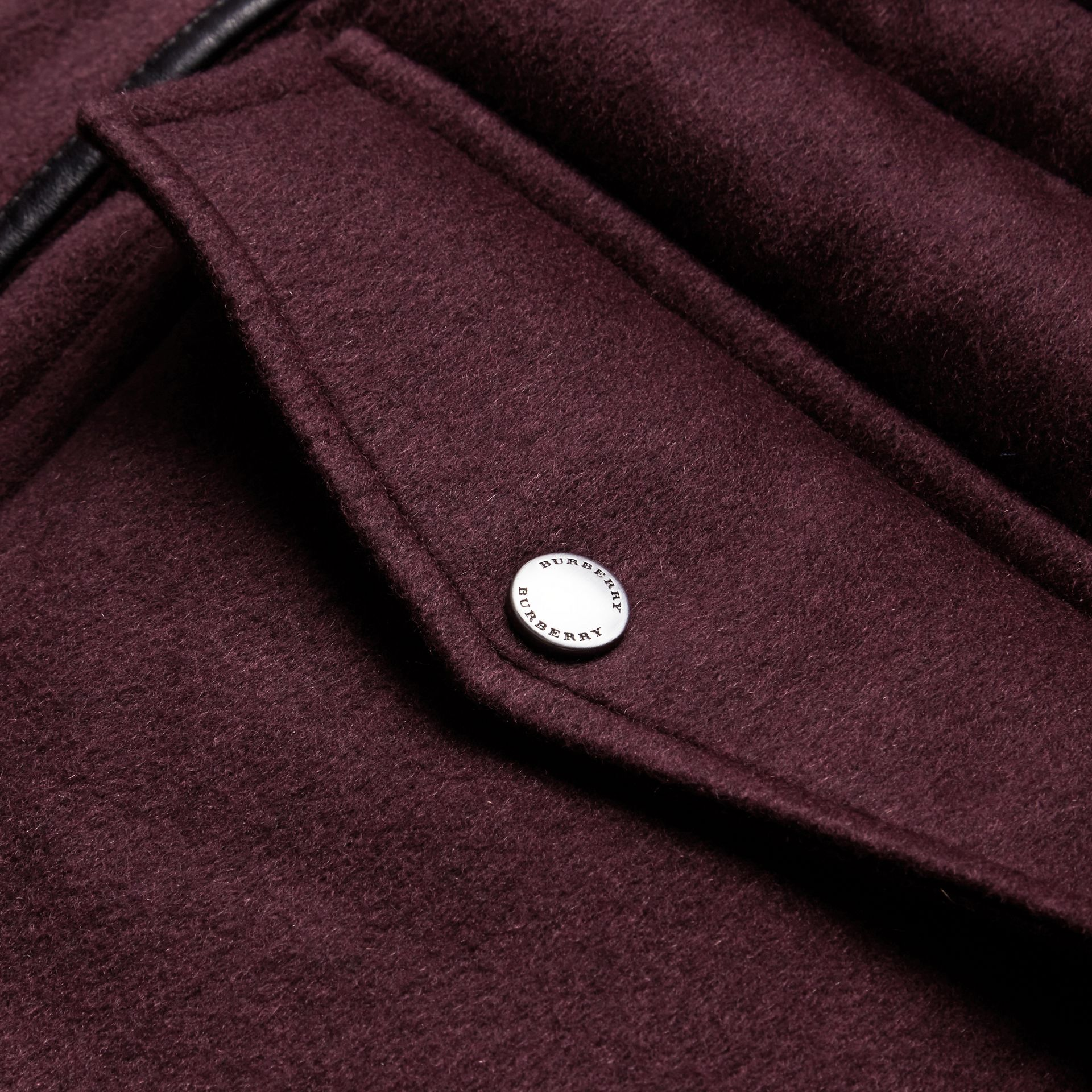 Down-filled Cashmere Coat with Detachable Fur Trim in Deep Claret - gallery image 2
