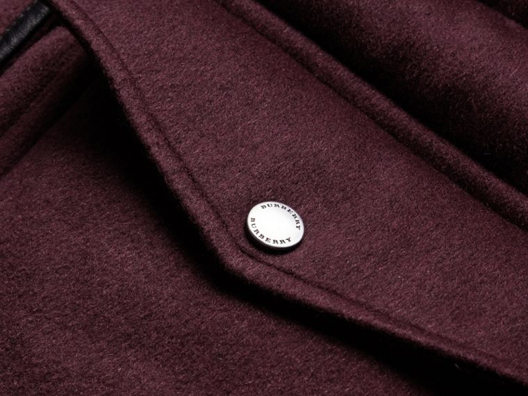 Down-filled Cashmere Coat with Detachable Fur Trim in Deep Claret - cell image 1