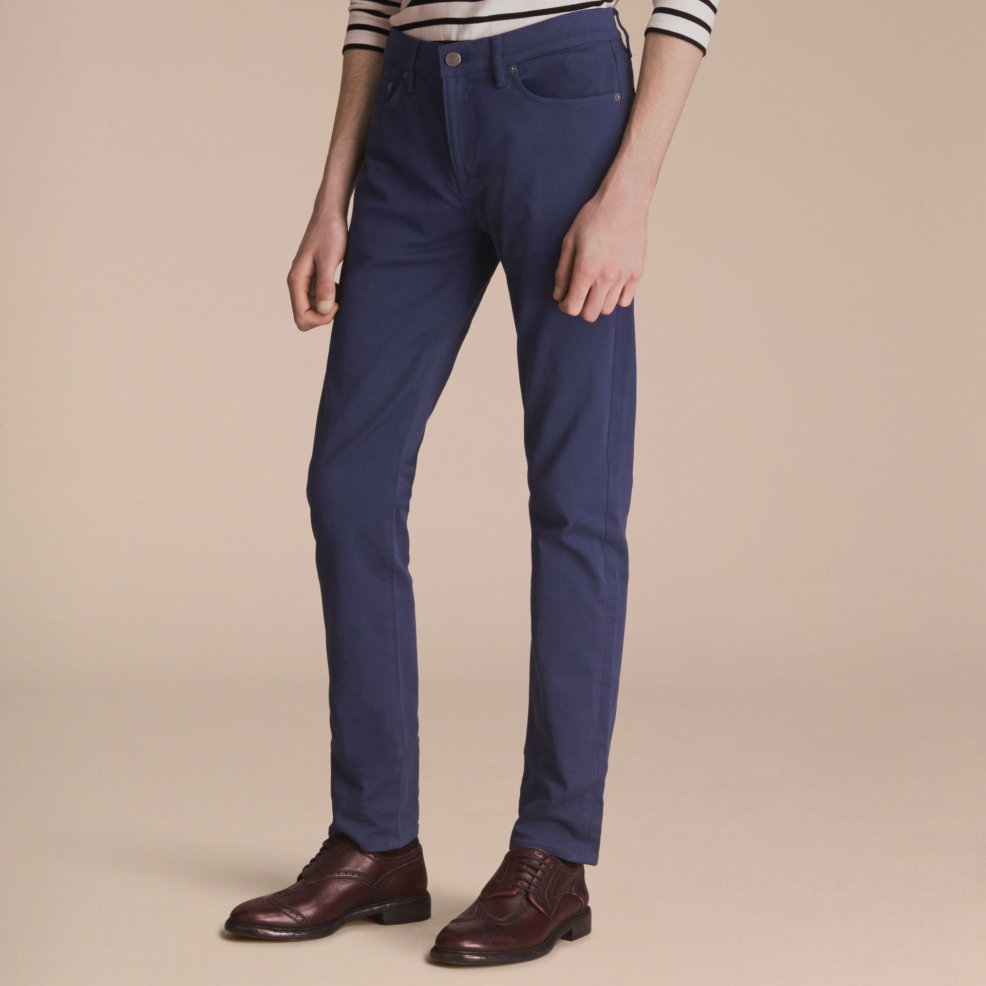 Slim Fit Stretch Japanese Denim in Bright Navy Blue - Men | Burberry - gallery image 5