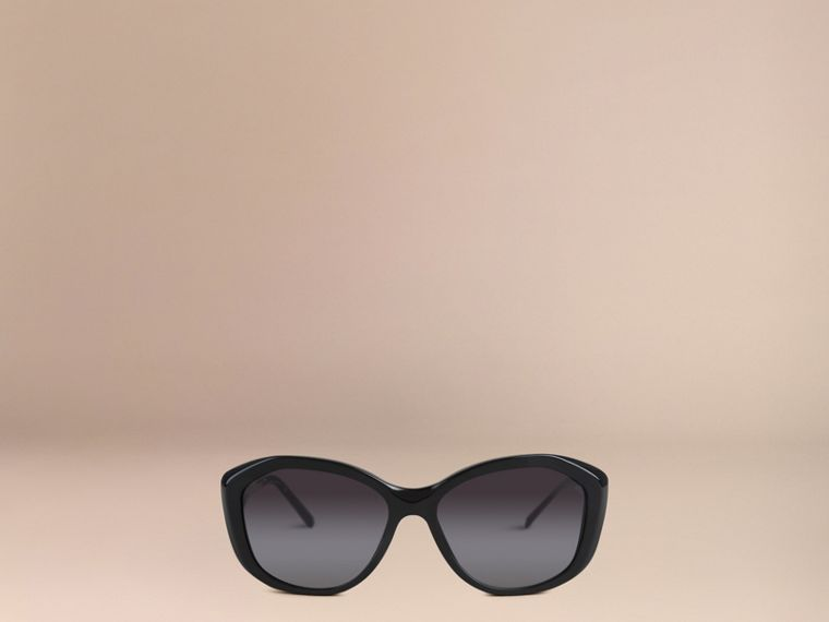 Gabardine Lace Collection Square Frame Sunglasses in Black - cell image 1