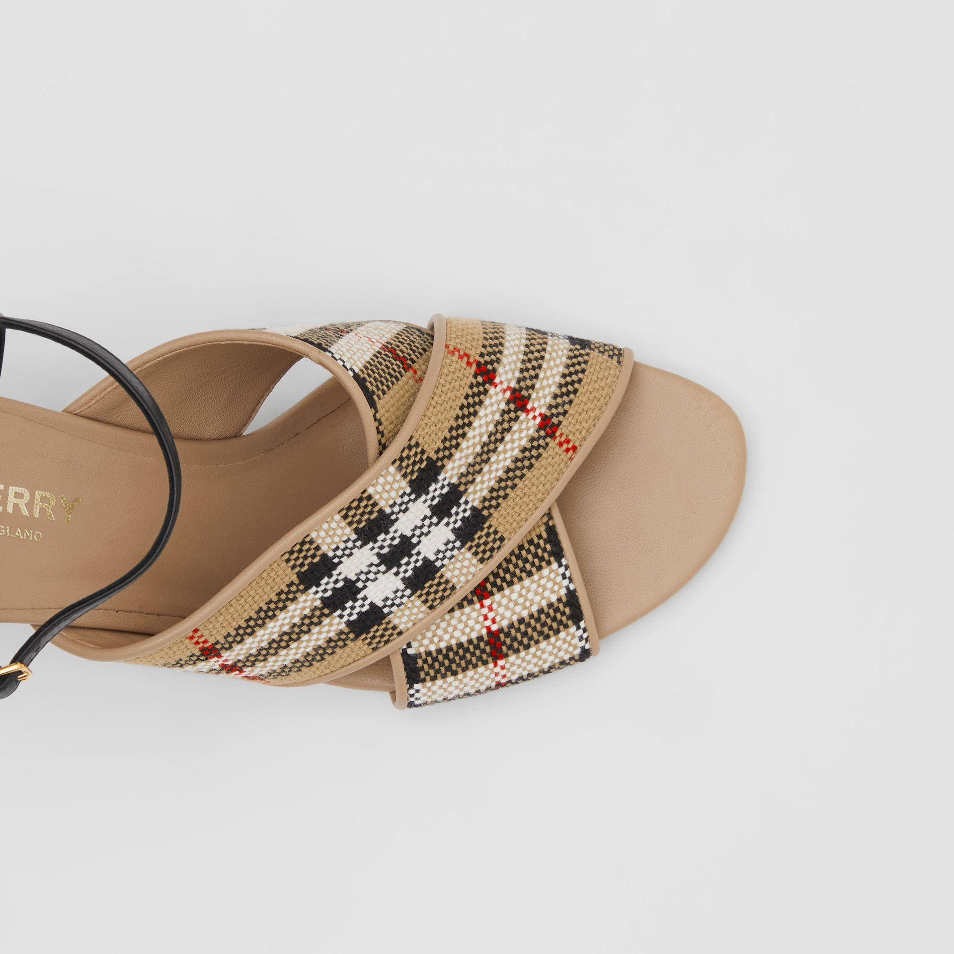 Latticed Cotton and Leather Block-heel Sandals in Archive Beige/black - Women | Burberry United Kingdom - gallery image 1