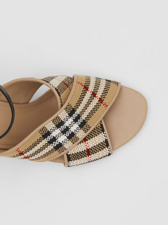 Latticed Cotton and Leather Block-heel Sandals in Archive Beige/black - Women | Burberry United Kingdom - cell image 1