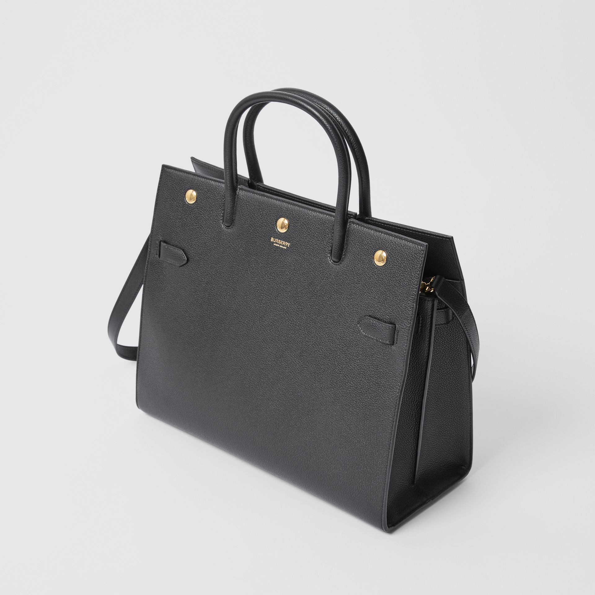 Medium Leather Two-handle Title Bag in Black - Women | Burberry - gallery image 3