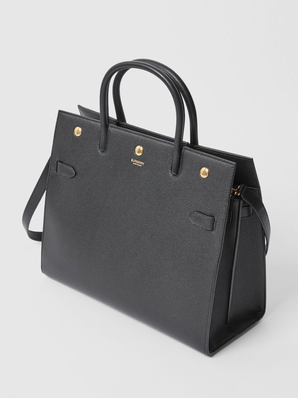 Medium Leather Two-handle Title Bag in Black - Women | Burberry - cell image 3