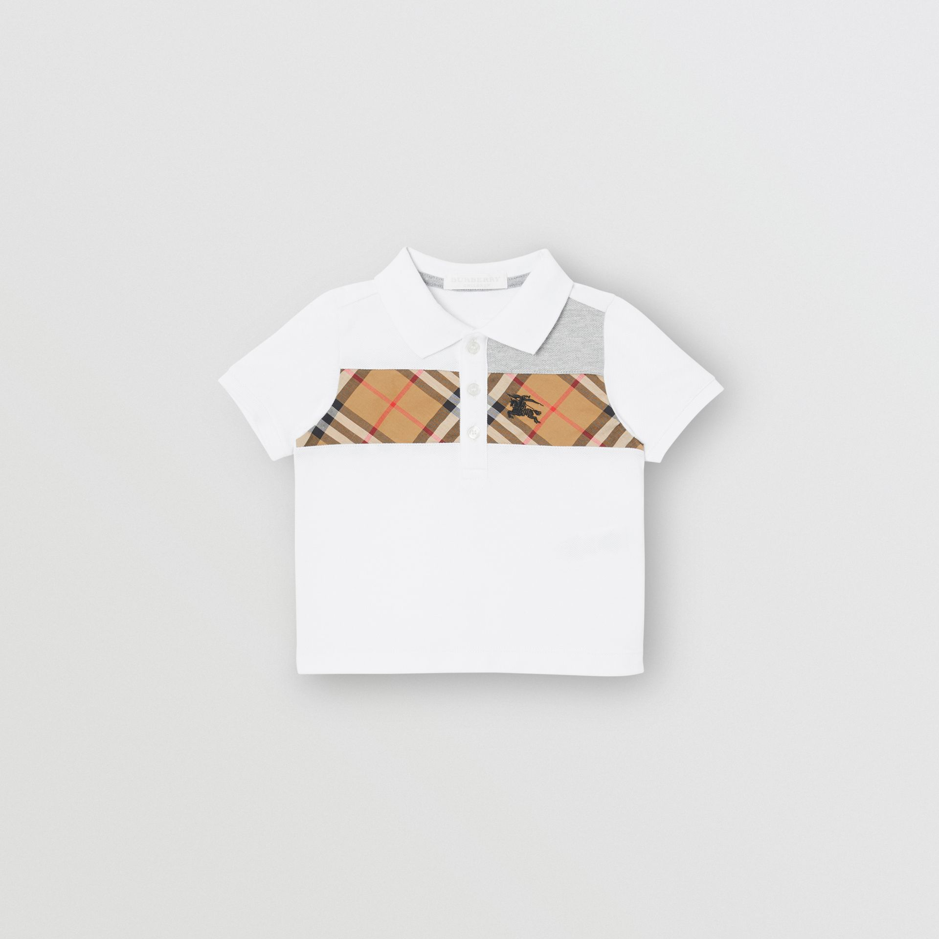 Vintage Check Panel Cotton Polo Shirt in White - Children | Burberry - gallery image 0