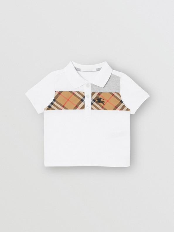 Polo en coton à empiècement Vintage check (Blanc)