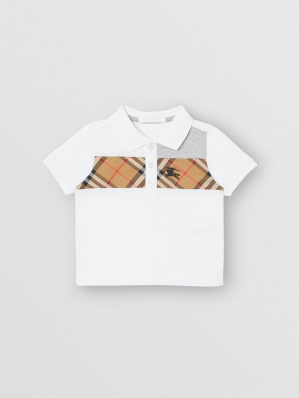 Vintage Check Panel Cotton Polo Shirt in White