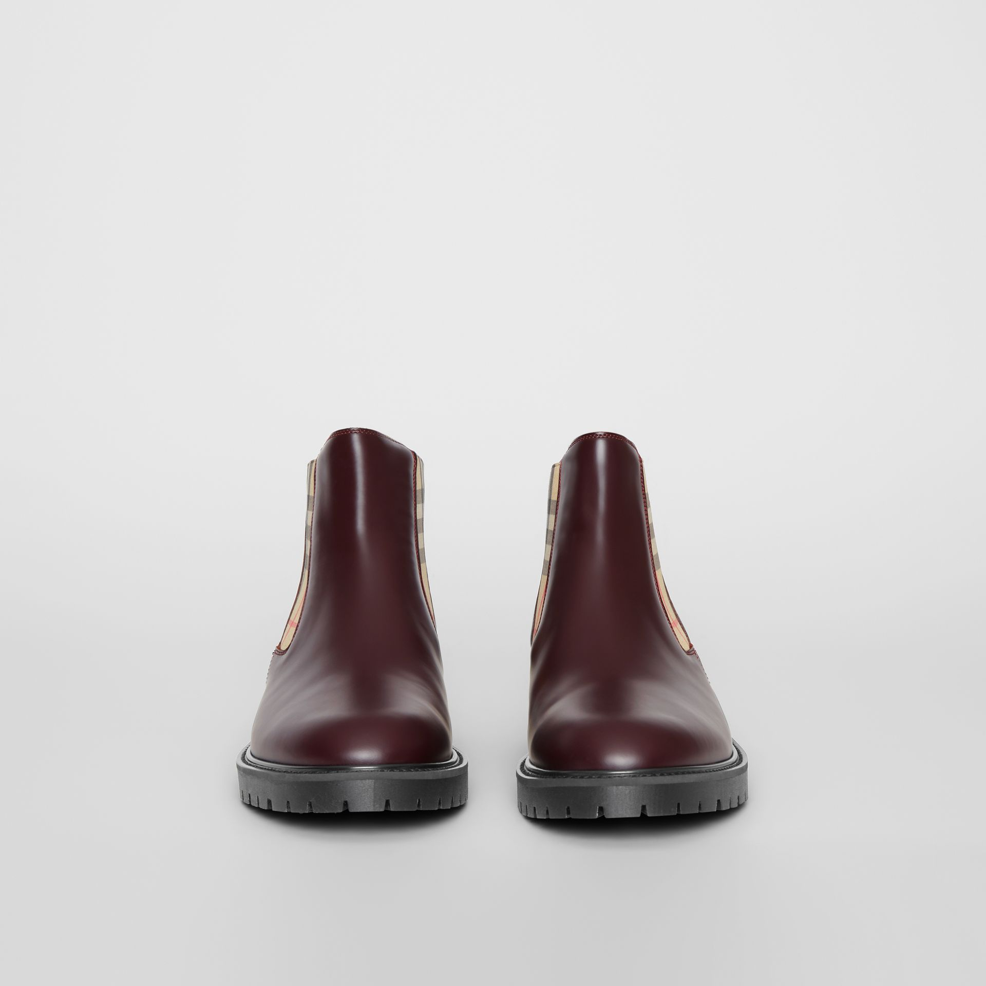 Vintage Check Detail Leather Chelsea Boots in Oxblood - Men | Burberry Australia - gallery image 3