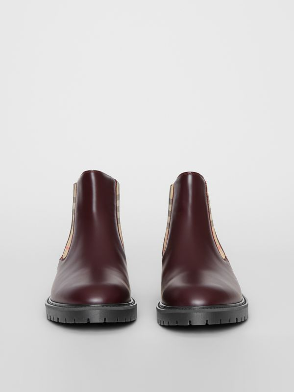 Vintage Check Detail Leather Chelsea Boots in Oxblood - Men | Burberry Singapore - cell image 3