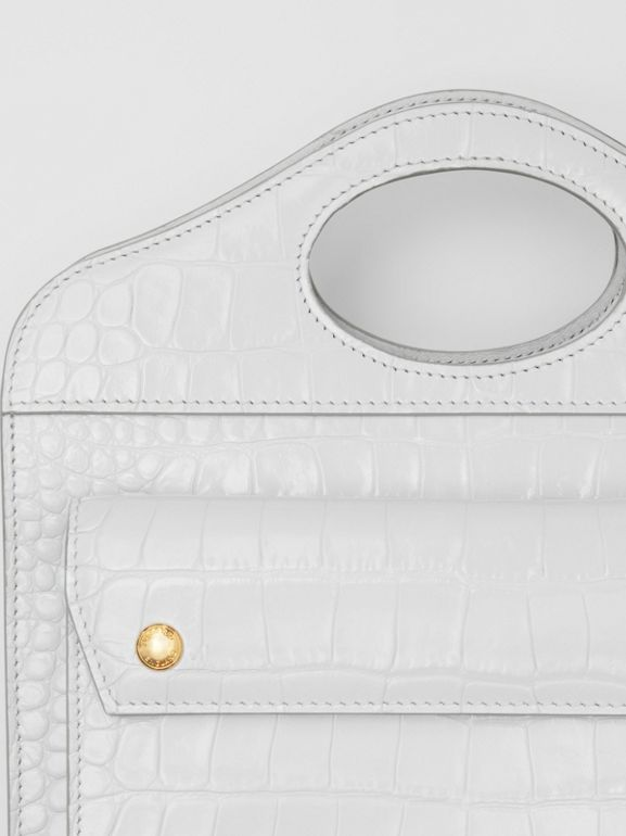 Mini Embossed Leather Pocket Bag in Light Pebble Grey - Women | Burberry Canada - cell image 1