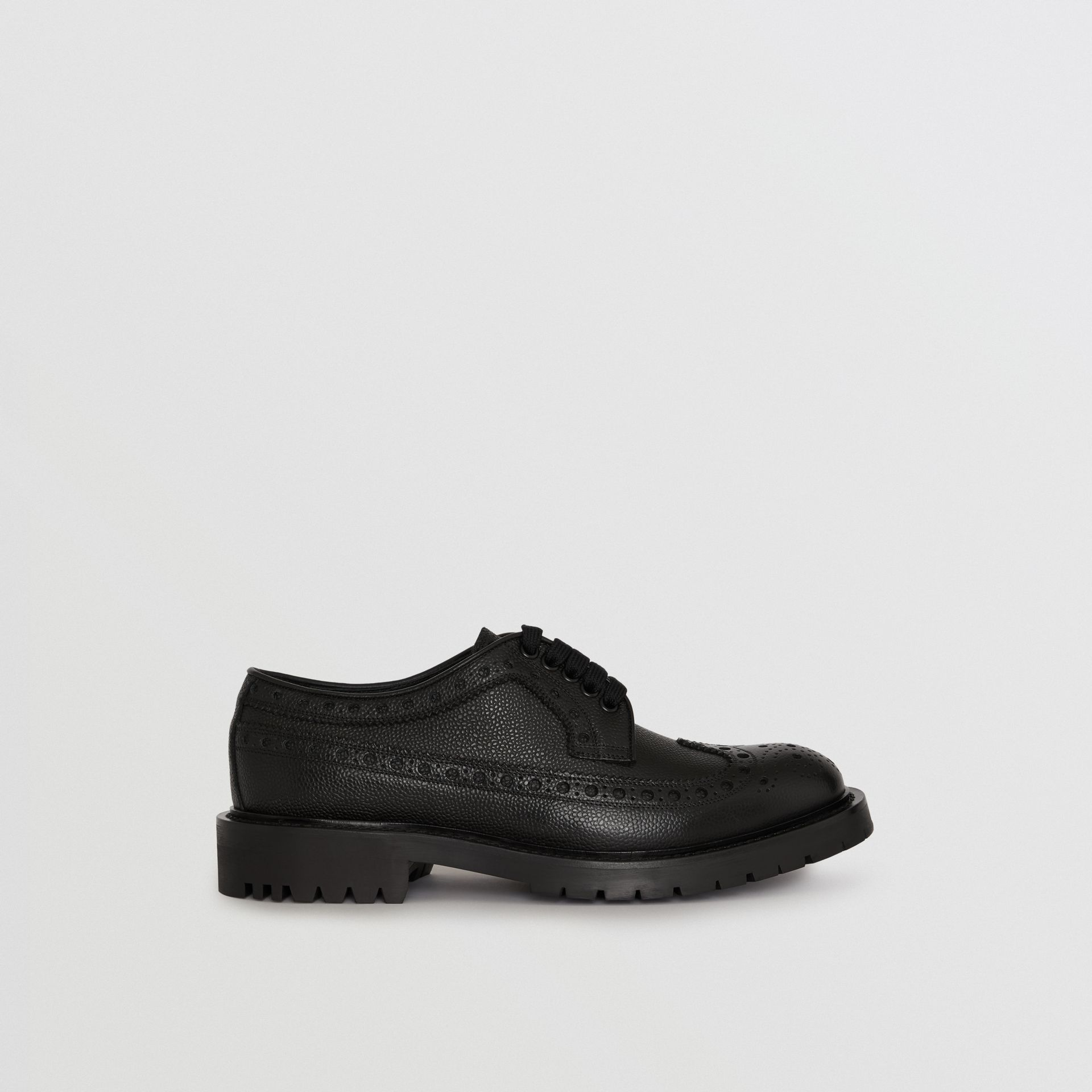 Brogue Detail Grainy Leather Derby Shoes in Black - Men | Burberry - gallery image 5