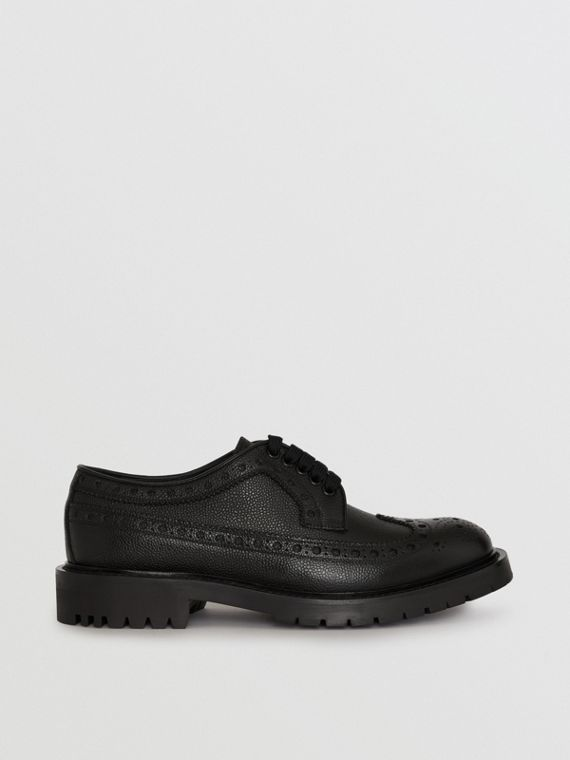 Brogue Detail Grainy Leather Derby Shoes in Black