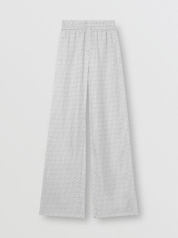 Monogram Print Silk Twill Wide-leg Trousers in White