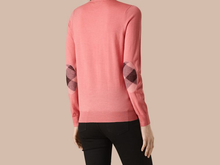 Apricot Check Detail Merino Wool Crew Neck Sweater Apricot - cell image 2
