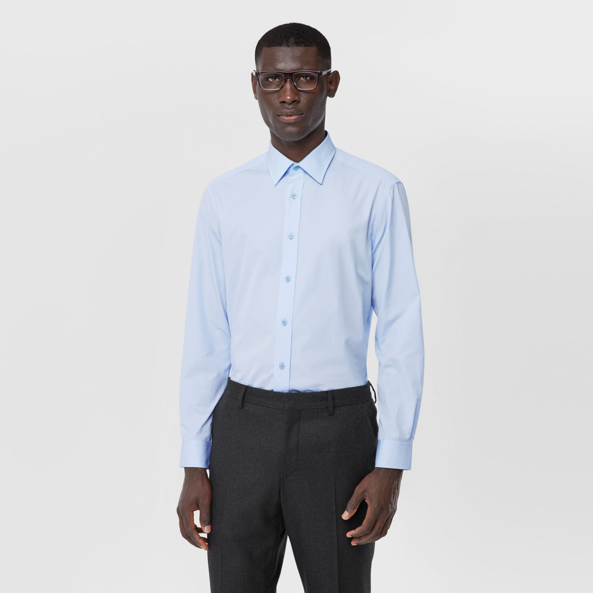 Classic Fit Monogram Motif Cotton Poplin Shirt in Pale Blue - Men | Burberry - gallery image 5