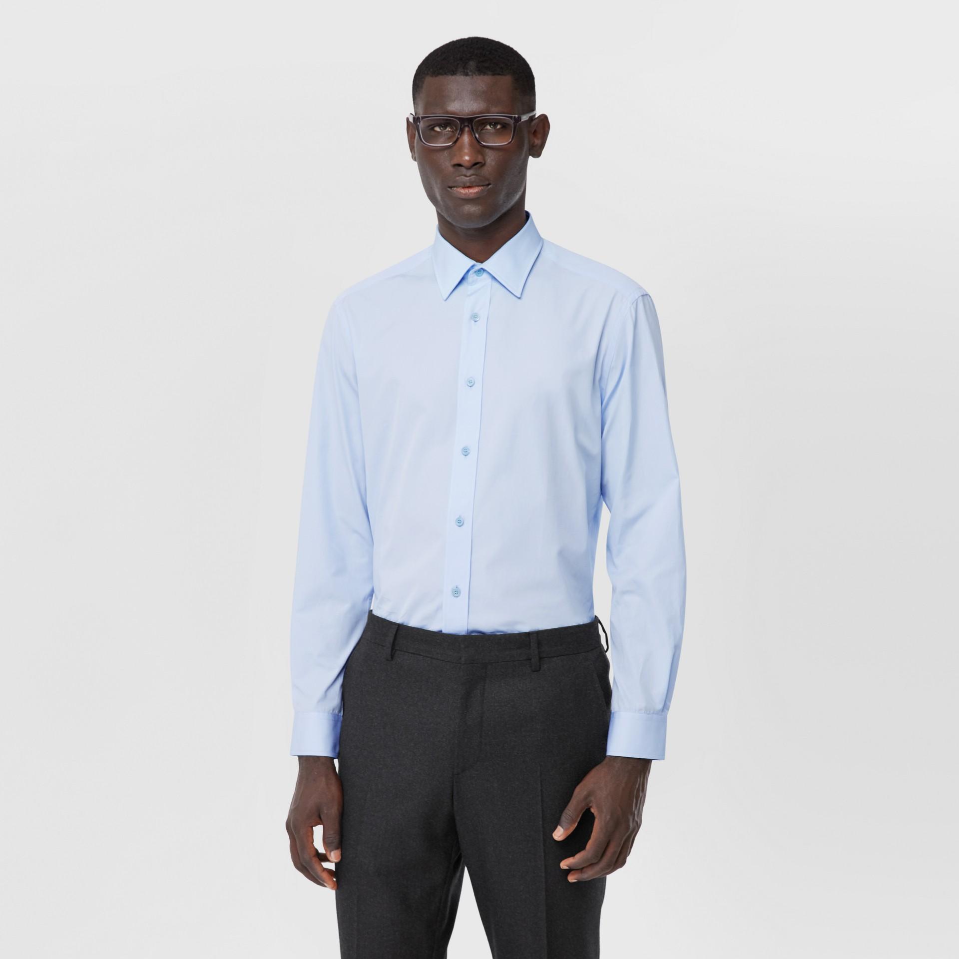 Classic Fit Monogram Motif Cotton Poplin Shirt in Pale Blue - Men | Burberry Singapore - gallery image 5