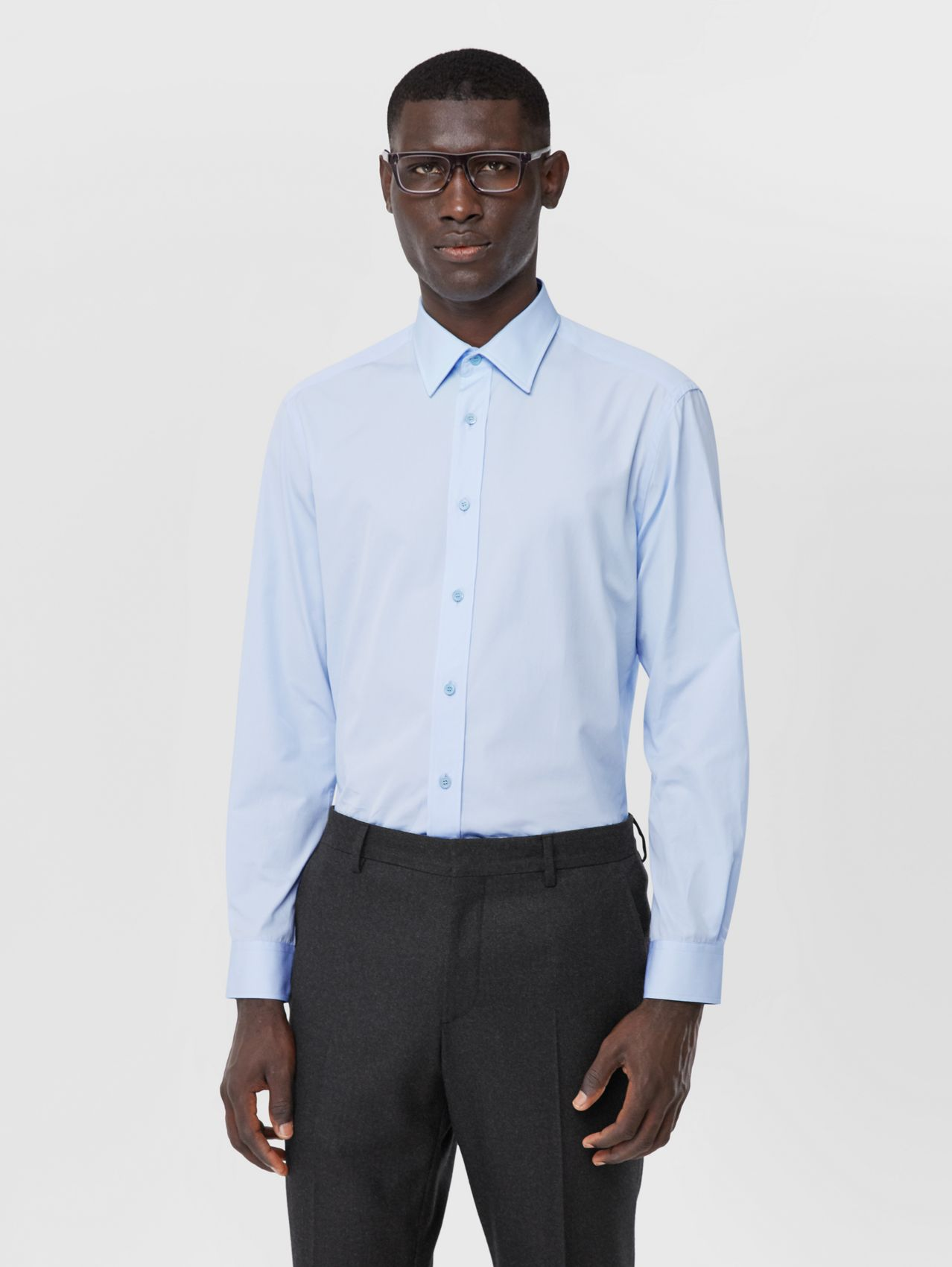 Classic Fit Monogram Motif Cotton Poplin Shirt in Pale Blue