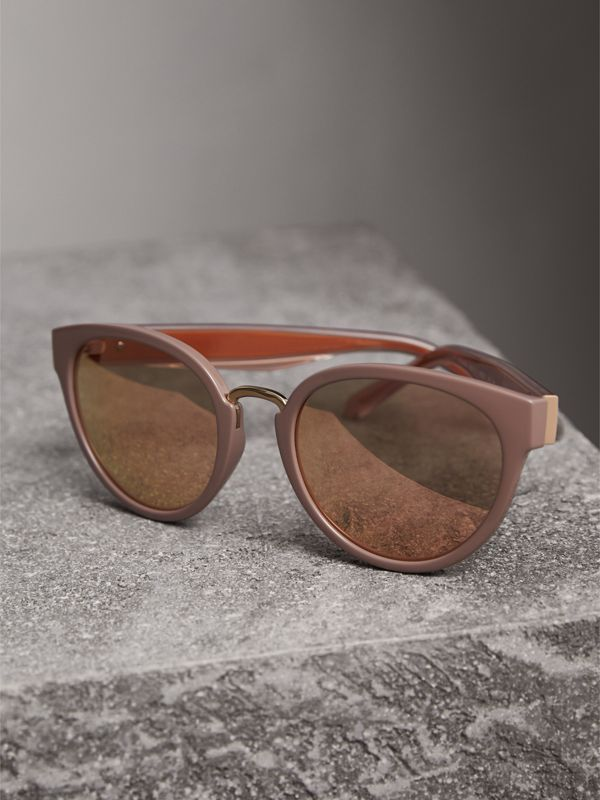 Check Detail Mirrored Cat-eye Frame Sunglasses in Nude - Women | Burberry Hong Kong - cell image 2