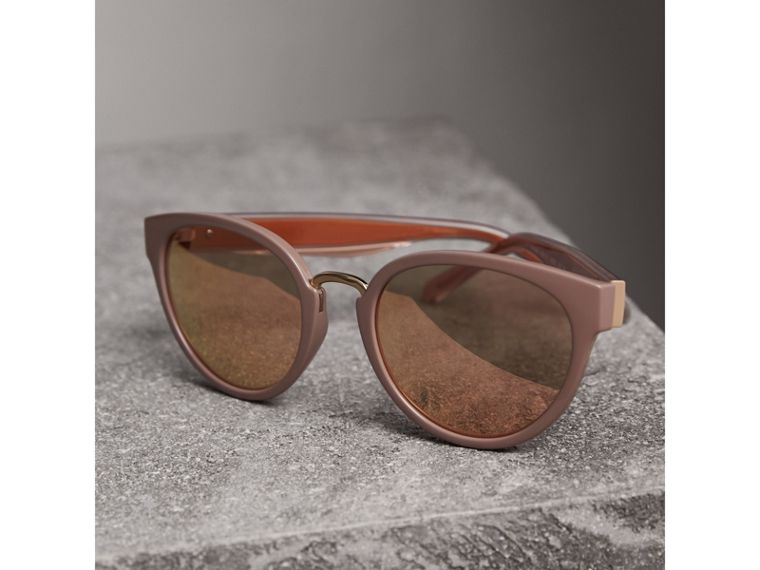 Check Detail Mirrored Cat-eye Frame Sunglasses in Nude - Women | Burberry - cell image 2