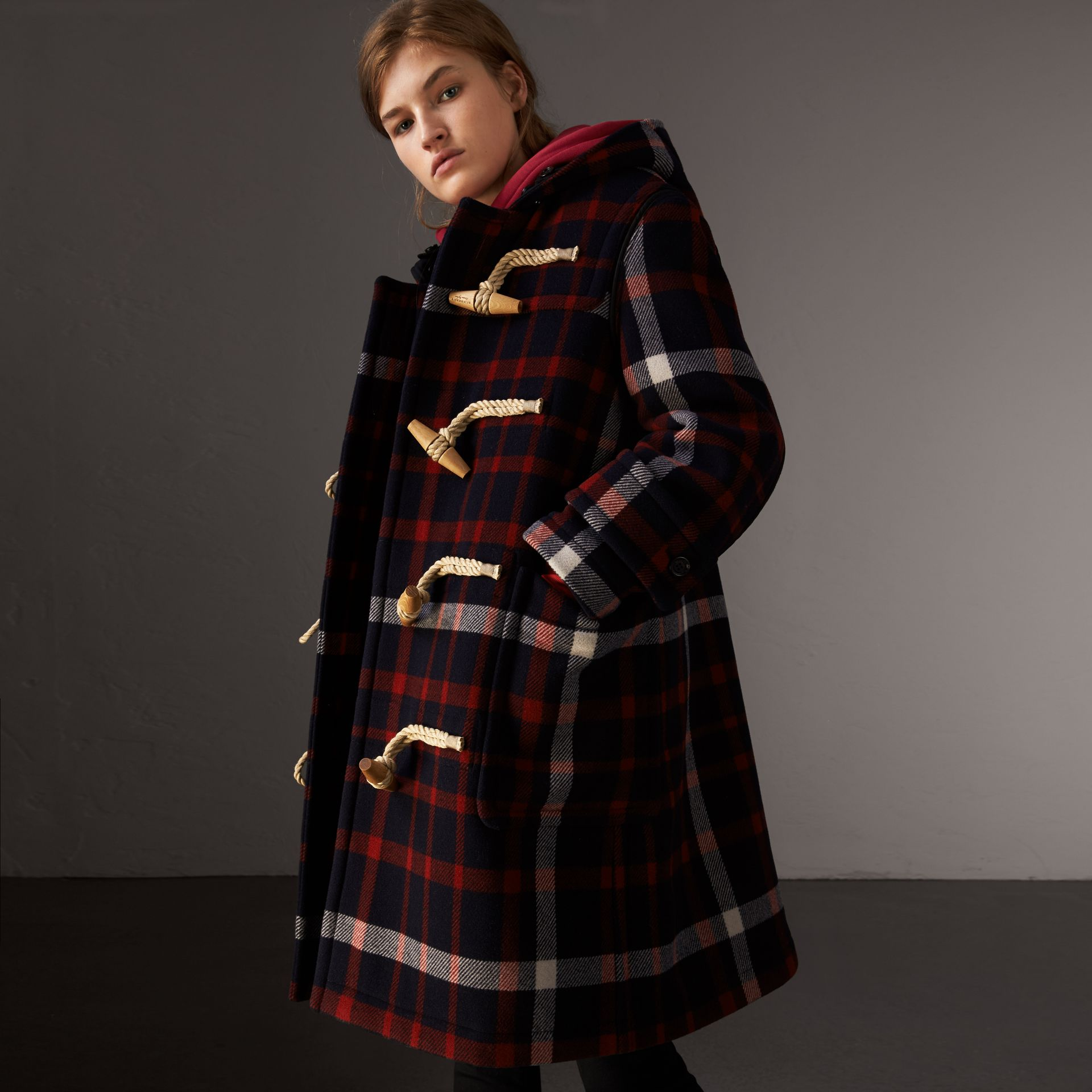 Check Wool Duffle Coat with Detachable Warmer in Navy/black - Women | Burberry - gallery image 0