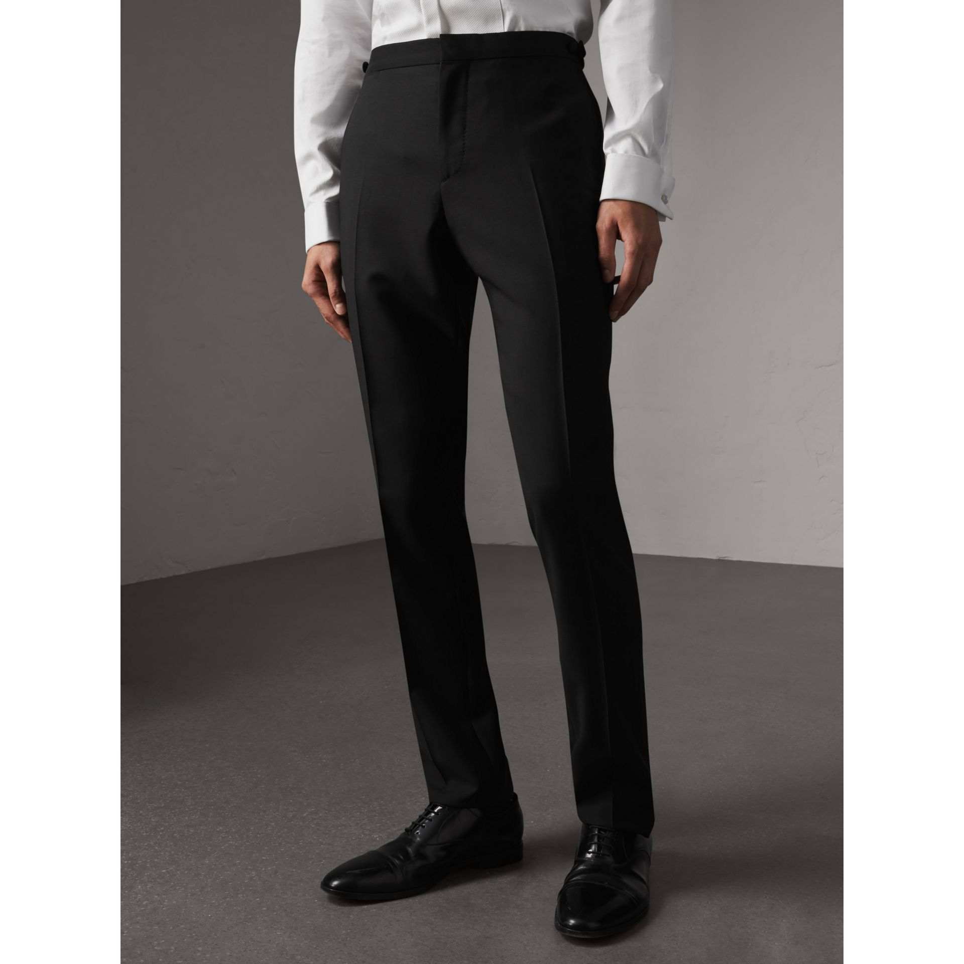 Modern Fit Wool Mohair Tuxedo in Black - Men | Burberry Canada - gallery image 7