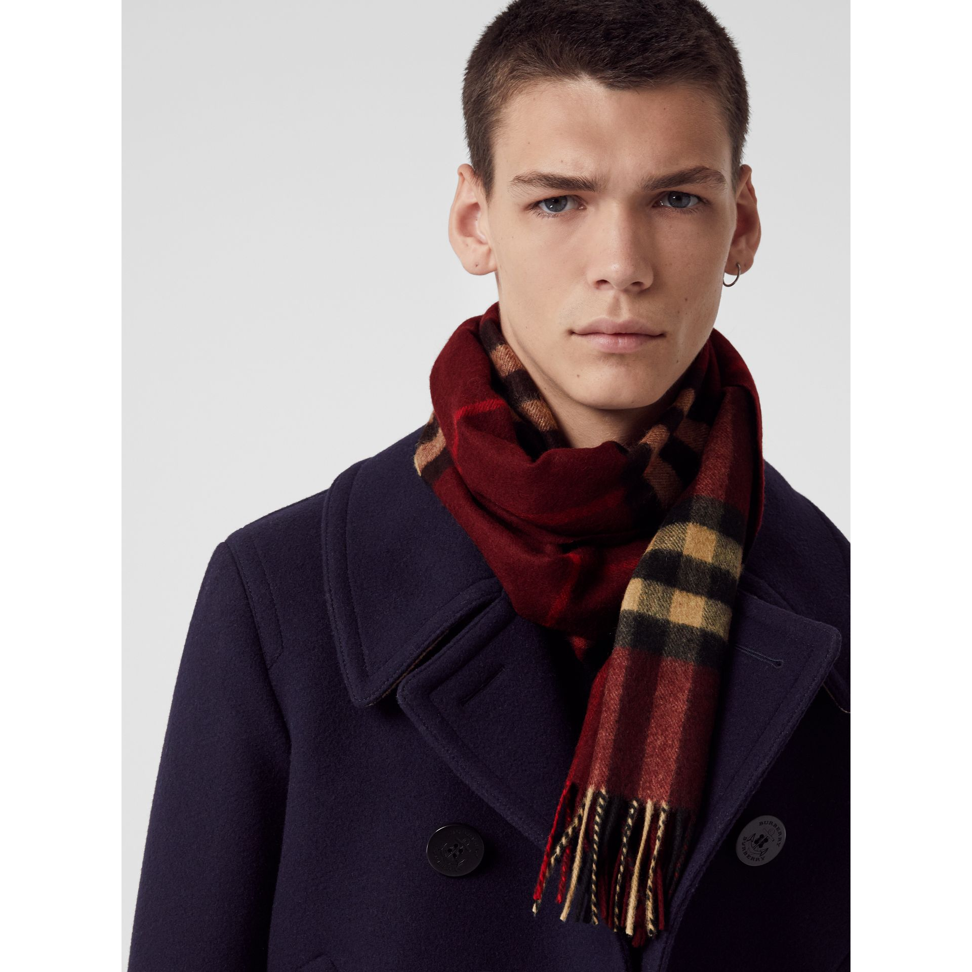 The Classic Check Cashmere Scarf in Claret | Burberry Australia - gallery image 6