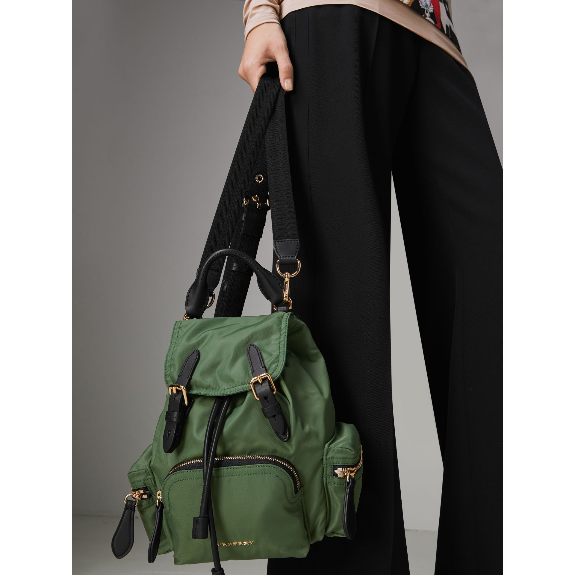 The Small Crossbody Rucksack in Nylon in Racing Green - Women | Burberry Australia - gallery image 6