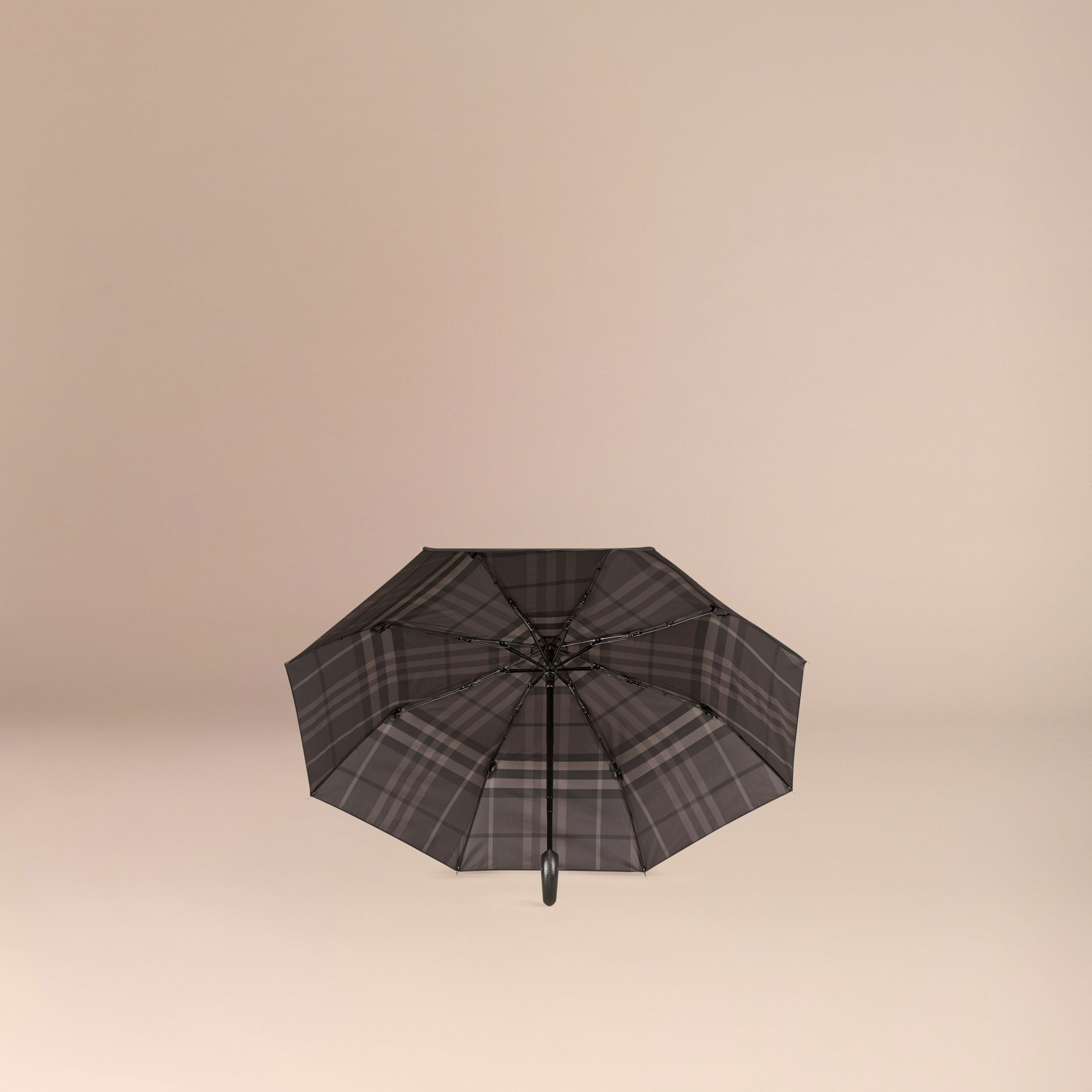 Check-lined Folding Umbrella in Dark Charcoal | Burberry - gallery image 2