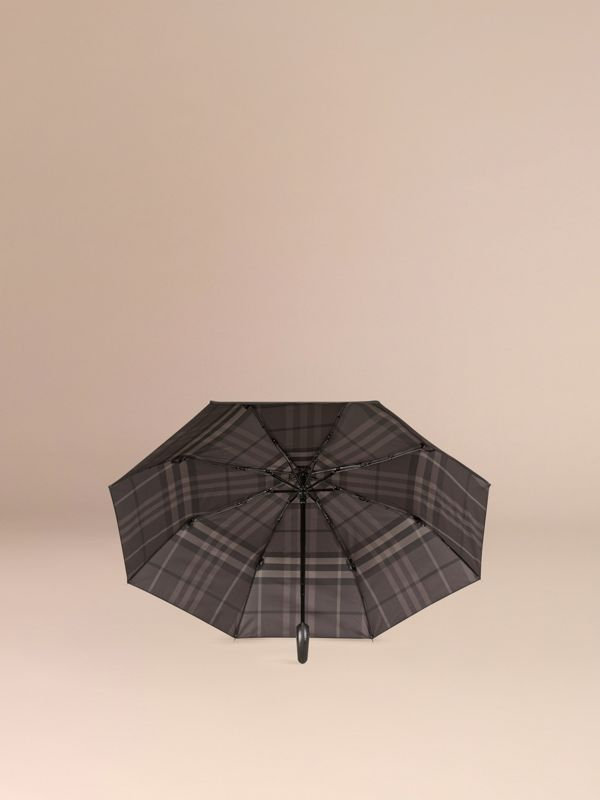 Check-lined Folding Umbrella in Dark Charcoal | Burberry - cell image 2
